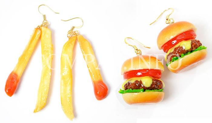 """Серёжки """"гамбургер"""" и """"картошка фри"""""""